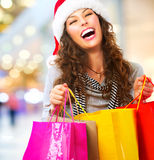 Shoppa för jul. Försäljningar Arkivfoto
