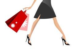 shoppa gå kvinna royaltyfri illustrationer