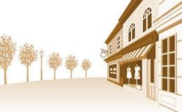 Shoppa gatan, tonad Sepia Arkivfoto