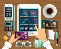 Shoppa i online-lager Arkivbild