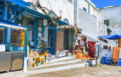 Shoppa i Sidi Bou Said Arkivfoto
