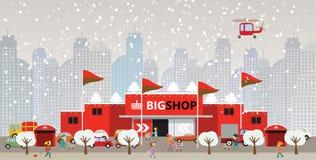 Shoppa i staden (jul) Royaltyfri Fotografi