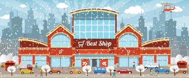 Shoppa i staden (vintern) Arkivfoton