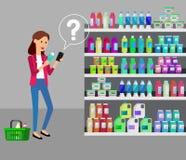 Shoppa illustrationer för supermarketvektorlägenheten royaltyfri illustrationer