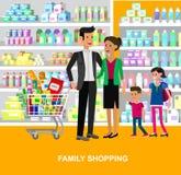 Shoppa illustrationer för supermarketvektorlägenheten vektor illustrationer