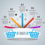Shoppa infographic Marceting symbol Buy och sell stock illustrationer