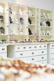 Shoppa inredning i smyckenlager arkivfoto