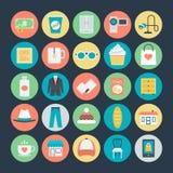 Shoppa kulöra vektorsymboler 4 royaltyfri illustrationer