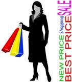shoppa kvinnan vektor illustrationer