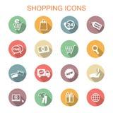Shoppa långa skuggasymboler Fotografering för Bildbyråer
