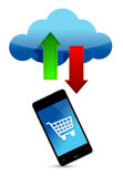 Shoppa on-line moln Arkivfoto