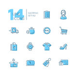 Shoppa - linje symbolsuppsättning royaltyfri illustrationer