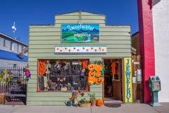 Shoppa lite på den huvudsakliga gatan Bridgeport, Kalifornien Arkivbild