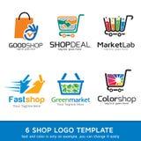 Shoppa marknaden Logo Template Design Vector Vektor Illustrationer