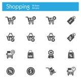 Shoppa, marknadsföra, Storeflat den gråa symbolsuppsättningen av 16 Royaltyfria Bilder