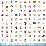 100 shoppa marknadssymboler uppsättning, tecknad filmstil Arkivfoton