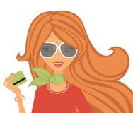 Shoppa med kortet Royaltyfri Foto