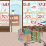 Shoppa och gåvor Den säsongsbetonade sale Royaltyfria Bilder