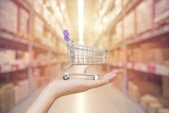 Shoppa och lagra ledningbegreppet: Räcka shoppingvagnen arkivfoton