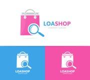 Shoppa och loupelogokombinationen Sale och förstoringsglassymbol eller symbol Unik påse- och sökandelogotypdesign Royaltyfri Fotografi