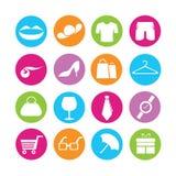 Shoppa och modesymboler stock illustrationer