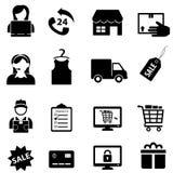 Shoppa och online-e-kommers symbolsuppsättning stock illustrationer