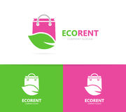 Shoppa och sprick ut logokombinationen Sale och ecosymbol eller symbol Unik påse och organisk logotypdesignmall Royaltyfria Bilder