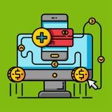 Shoppa online-betalningbegrepp Kommersiellt köp för affär royaltyfri illustrationer