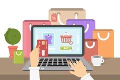 Shoppa online-illustrationen vektor illustrationer