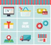 Shoppa online-infographicssymbolsuppsättningen Infographic beståndsdelar för plan moderiktig rengöringsduk för affärse-kommers royaltyfri illustrationer