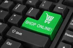 Shoppa online-knappen royaltyfria bilder
