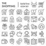 Shoppa online-linjen symbolsuppsättning, skissar internetlagersymboler samlingen, vektor, logoillustrationer, kommersiellt tecken royaltyfri illustrationer