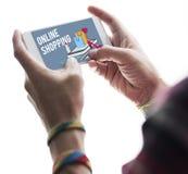 Shoppa online-Shopaholics E-kommers E-shopping begrepp Arkivfoton