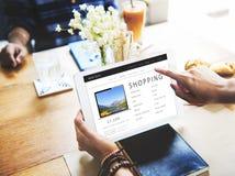 Shoppa online-Shopaholics E-kommers E-shopping begrepp Arkivfoto