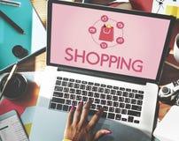 Shoppa online-Shopaholics E-kommers E-shopping begrepp Arkivbild