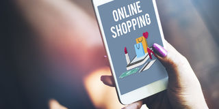 Shoppa online-Shopaholics E-kommers E-shopping begrepp Royaltyfri Foto