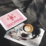 Shoppa online-Shopaholics E-kommers E-shopping begrepp Royaltyfri Fotografi