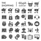 Shoppa online-skårasymbolsuppsättningen, skissar internetlagersymboler samlingen, vektor, logoillustrationer, kommersiellt tecken stock illustrationer