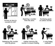 Shoppa på lagret och friköpa online-kupongCliparts symboler Arkivbild