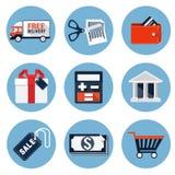 Shoppa plana symboler Royaltyfri Bild