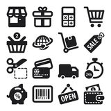 Shoppa plana symboler. Svart Arkivbilder