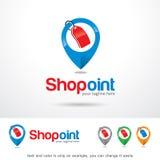Shoppa punkt Logo Template Design Vector Royaltyfri Illustrationer