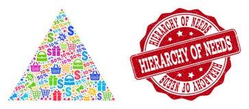 Shoppa pyramidsammansättning av mosaiken och Grungeskyddsremsan för försäljningar royaltyfri illustrationer