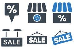 Shoppa Sale plana skårasymboler Royaltyfri Foto