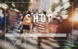 Shoppa shoppa begrepp för Sale rensningsbefordran Arkivfoton