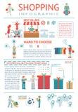Shoppa som är infographic stock illustrationer