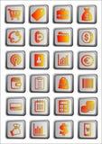 24 shoppa symboler eller knappar, kommers Vektor Illustrationer