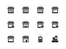 Shoppa symboler på vit bakgrund. Royaltyfri Foto