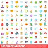 100 shoppa symboler uppsättning, tecknad filmstil Arkivbilder