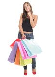 shoppa tänkande kvinna Arkivfoto